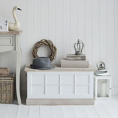 Vermont small white wooden storage trunk
