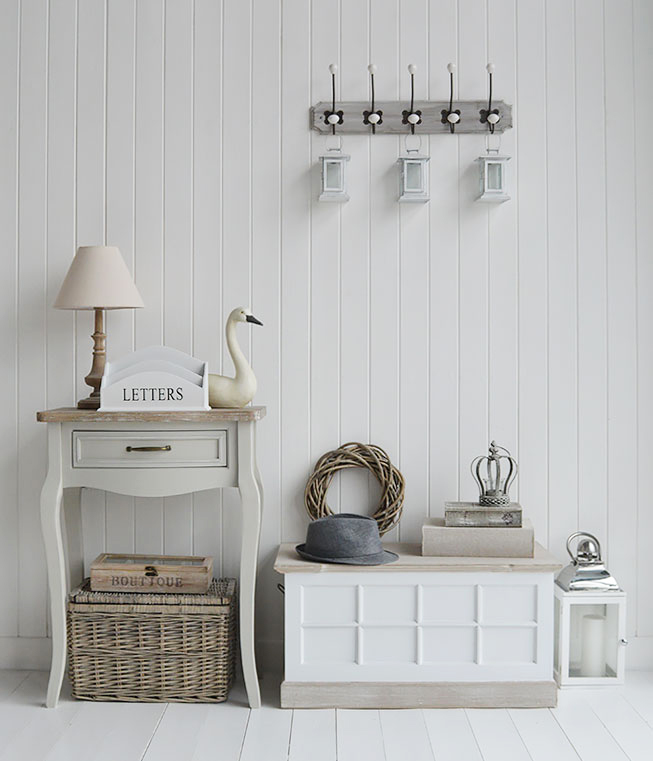 Vermont small white trunk for hallway furniture. The White Lighthouse Country, Scandi, White, Coastal and New England Furniture, Home Interiors and Lifestyle