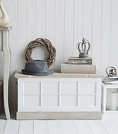 Vermont small white trunk. a perfect piece of white furniture in washed beach house coastal style
