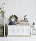 Vermont small white trunk for bags, boots and shoe storage. You can never have enought hall storage