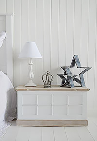 Vermont white bedside, a trunk for bedroom furniture with lotsof storage