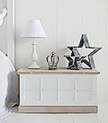 Vermont small white trunk, a great storage solution in the bedroom for a large bedroom space