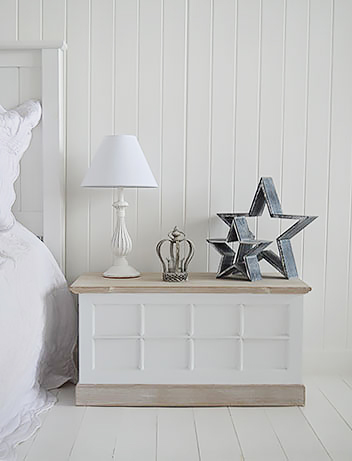 White bedroom with grey stars