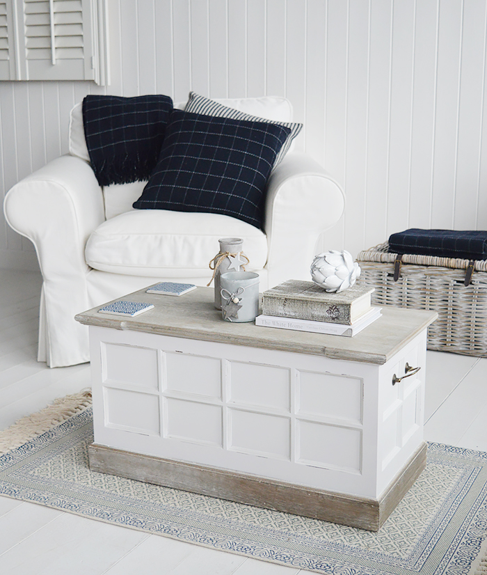 Vermont white coffee table in a New England living room for country coastal and city homes with free UK delivery
