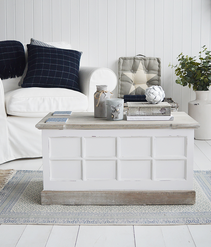 Vermont coffee table trunk in a white living room for extra storage in a New Enlgnad country, city or coastal living room