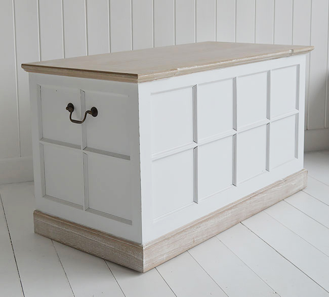 Vermont white storage trunk for white furniture in hallway
