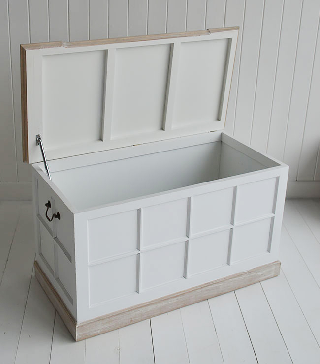 Vermont white storage trunk for white furniture foe New England interiors