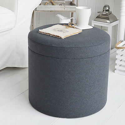 Westhampton grey soft storage dressing table stool