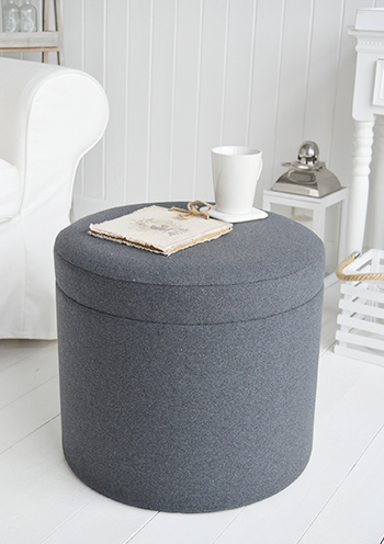 Westhampton grey storage foot stool