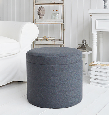 Westhampton grey footstool with storage