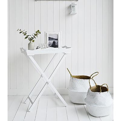 White small console table for small hallway furniture