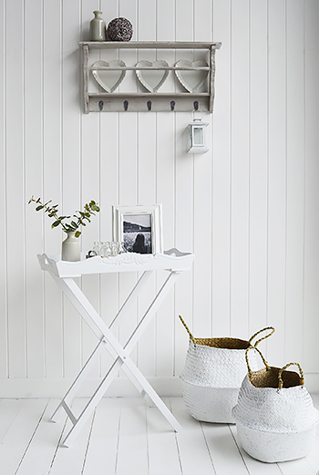 White Butler Tray with Kingston Baskets in a white living room. Affordable furniture and home decor in New England, country, coastal and white