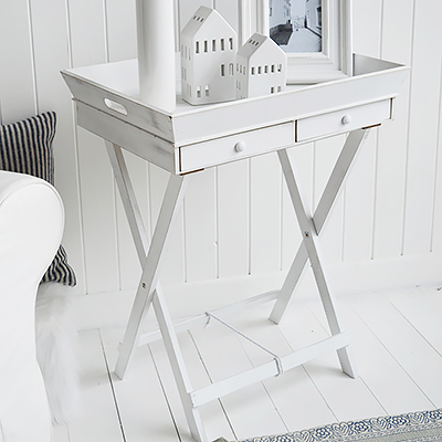 Rhode Island white lamp table with drawers in a rustic finish for New England furniture interiors
