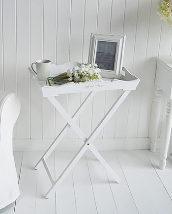 White Butler Tray Side Table for living room. The White Lighthouse Country, Scandi, White, Coastal and New England Furniture, Home Interiors and Lifestyle