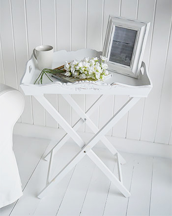 White Butler Tray Side Table for white living room furniture and decor