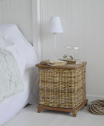 Casco Bay grey willow storage bedside table