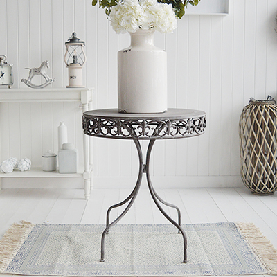 Winchester grey round lamp table