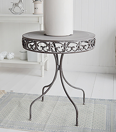 Winchester grey round table. New England Coastal White Furniture home interiors from The White Lighthouse Furniture. Bathroom, Living Room, Bedroom and Hallway Furniture for beautiful homes. Ideal console table to welcome you and your guests with a bunch of flowers