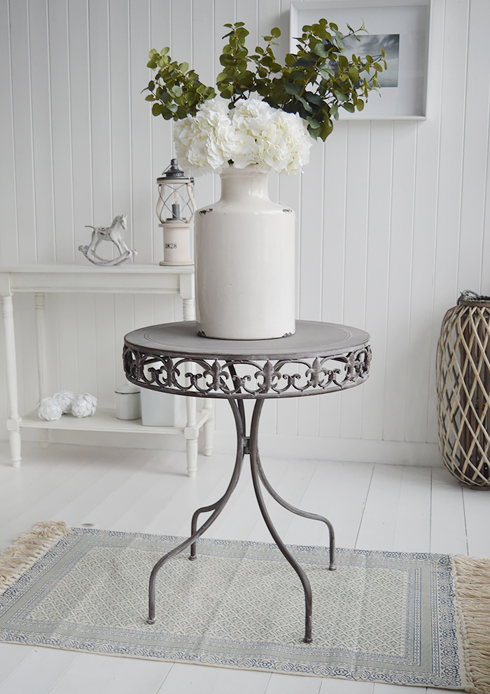 Winchester  round table. New England Coastal White Furniture home interiors from The White Lighthouse Furniture. Bathroom, Living Room, Bedroom and Hallway Furniture for beautiful homes