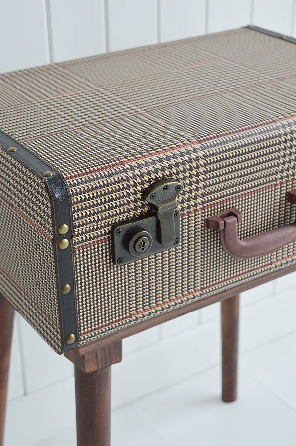 Woodstock suitcase vintage bedside side table