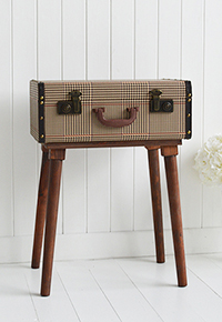 Woodstock vintage suitcase travel trunk bedside table