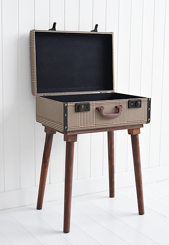 Woodstock vintage travel trunk luggage bedside table
