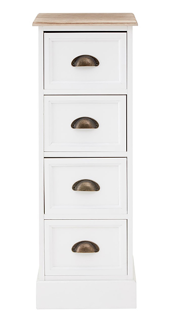 Connecticut White Narrow Chest Of Drawers The White