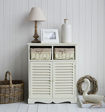 Hamptons cream sideboard and living room cupboard