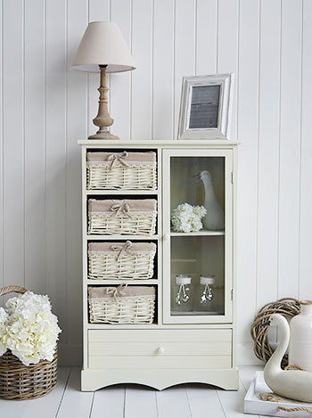 Hamptons cream tall narrow slim cupboard with drawers for living room storage furniture