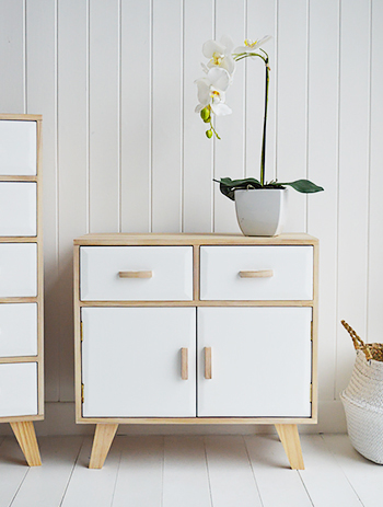 Hamptons White and Wood Small Sideboard with cupboards and drawers