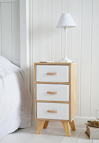 Hamptons bedroom storage furniture. Bedside table with 3 drawers