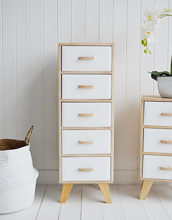 Wood And White Tall Narrow Cabinet With 5 Drawers Hamptons Cabinet