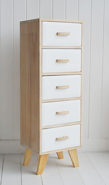 Wood And White Tall Narrow Cabinet With 5 Drawers