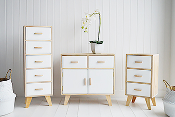 Wood And White Sideboard With Drawers Hamptons Cabinet Bedside