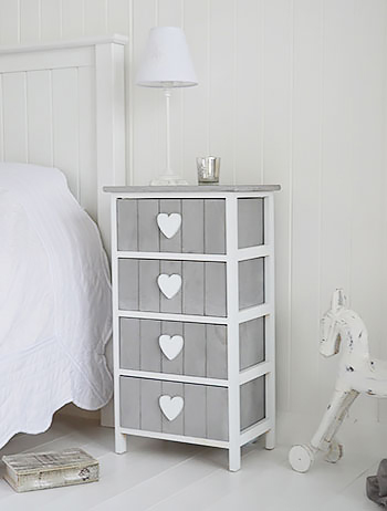 Heart Grey And White 4 Drawer Small Chest Of Drawers The