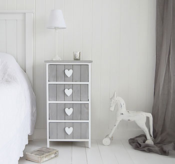 Grey and white furniture heart cottage drawers - White heart bedroom furniture ...