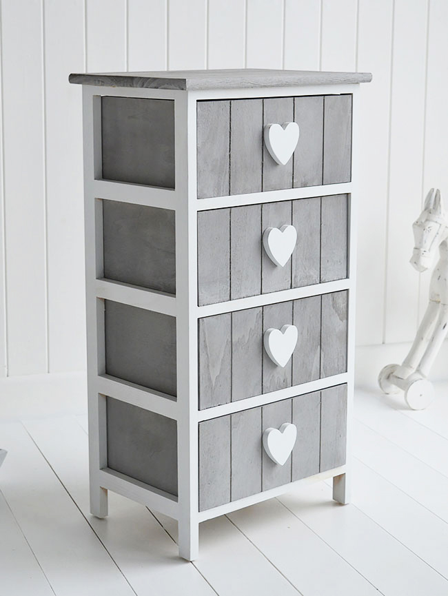 Heart Cottage Grey and White 4 drawer chest for New England Country and Coastal furniture and home interiors close