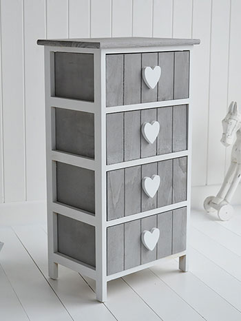 Grey And White Furniture Heart Cottage Drawers