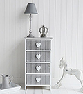 Grey and white heart cottage drawers