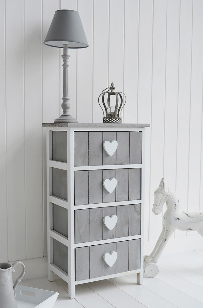 Grey And White Furniture Heart Cottage Drawers Large