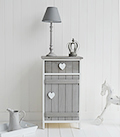White and Grey Heart Cottage Cupboard with drawer for New England, Coastal and Country furniture and home interiors