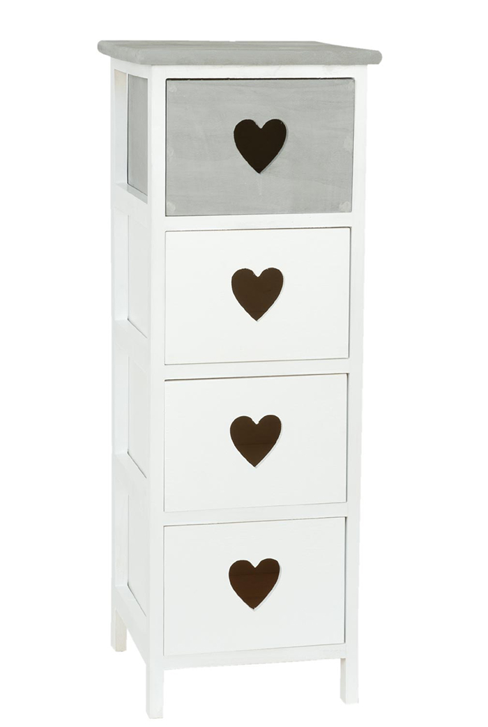 Heart Cottage narrow white and grey chest of 4 drawers for New England, coastal and country furniture and home interiors close photo