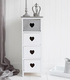 Heart Cottage narrow white and grey chest of 4 drawers for New England, coastal and country furniture and home interiors