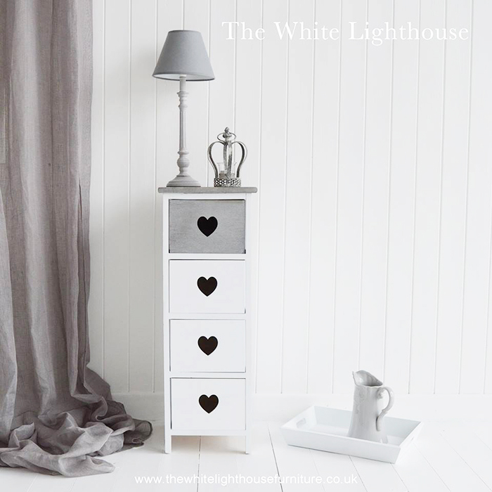 Narrow Storage furniture in grey and white from The White Lighthouse Furniture for hallway, bedroom, bathroom and living room for New England coastal, country and city homes