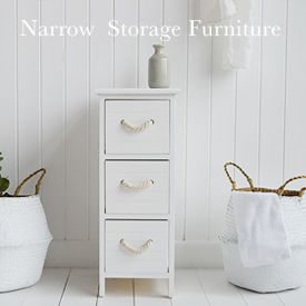 Narrow Storage Furniture, maw width 25cm wide - bedside tables, bathroom cabinets slim