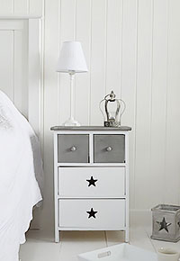 White and Grey Star Cottage bedside table