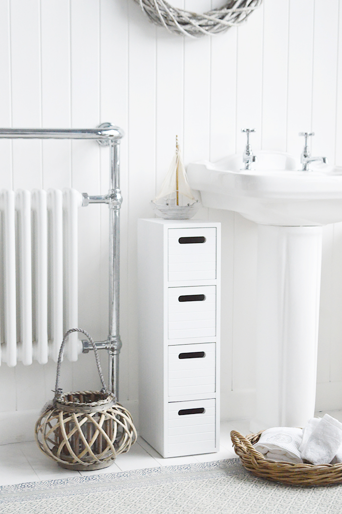 Dorset very narrow slim white bathroom cabinet with drawers 17 cm max width 20 cm wide