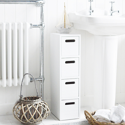 A white wooden cabinet with three drawers, ideal in a bathroom for essential storage of toiletries and make up.