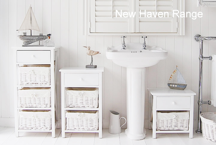 New Haven Range of Bathoom furniture, range of sizes of  white freestanding cabinets