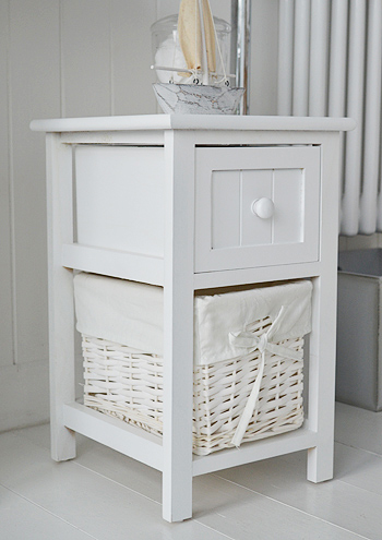Small Bar Harbor white bathroom cabinet with 2 drawers 25cm wide